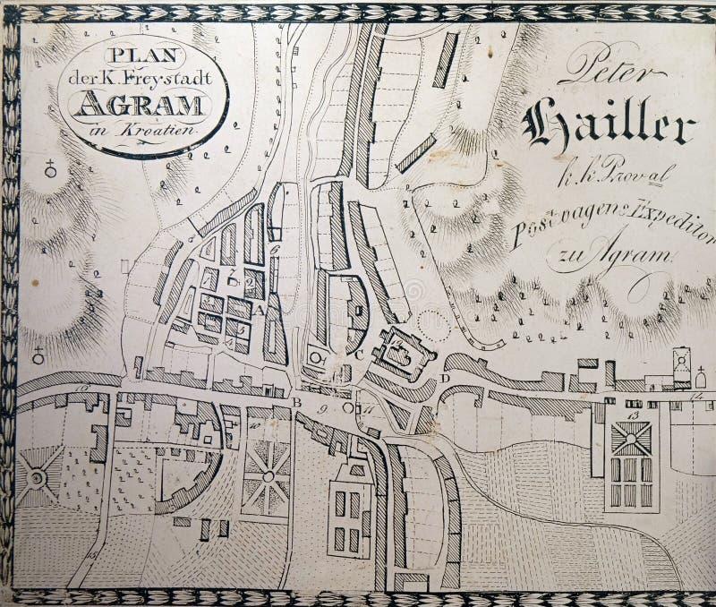 自由皇家市的地图萨格勒布从1817 图库摄影