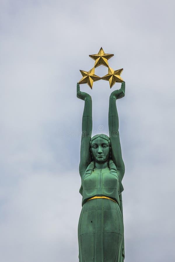 自由纪念碑在里加,拉脱维亚, independenc的国家标志 库存照片