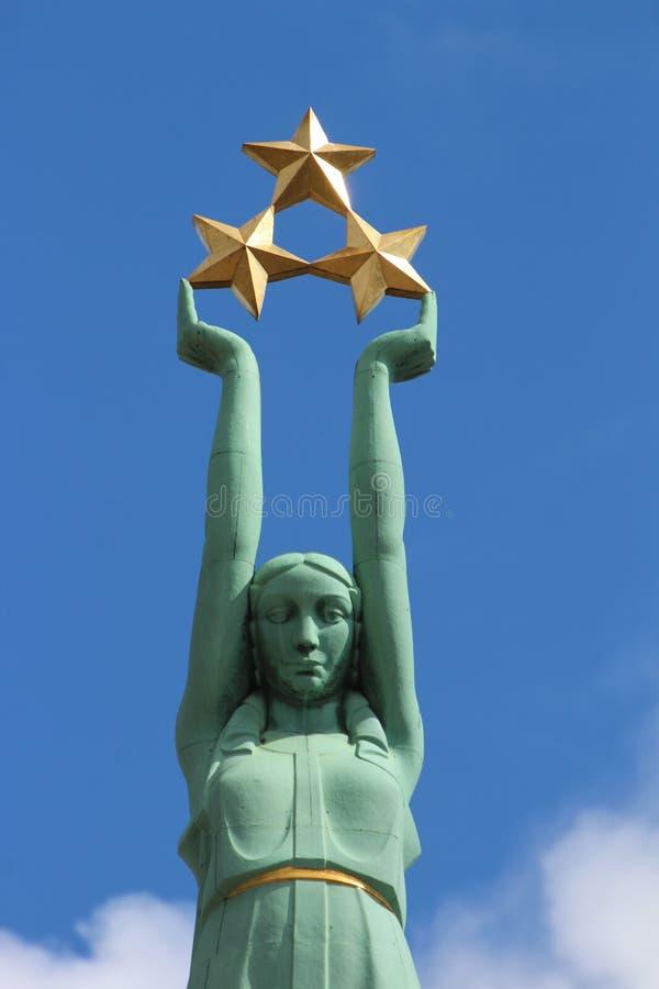 自由纪念碑里加,拉脱维亚 库存照片