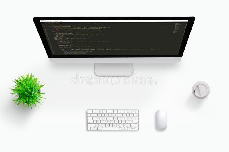 自由职业者代码开发商工作书桌顶视图场面  视觉代码编辑显示器的概念 图库摄影