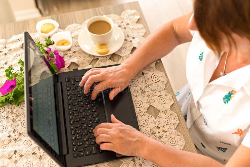 自由职业者和家庭办公室概念 家庭妇女工作 库存图片