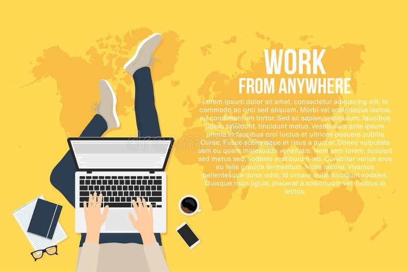 自由职业者在家与膝上型计算机,顶视图一起使用 从任何地方的远程工作的概念和工作 向量例证