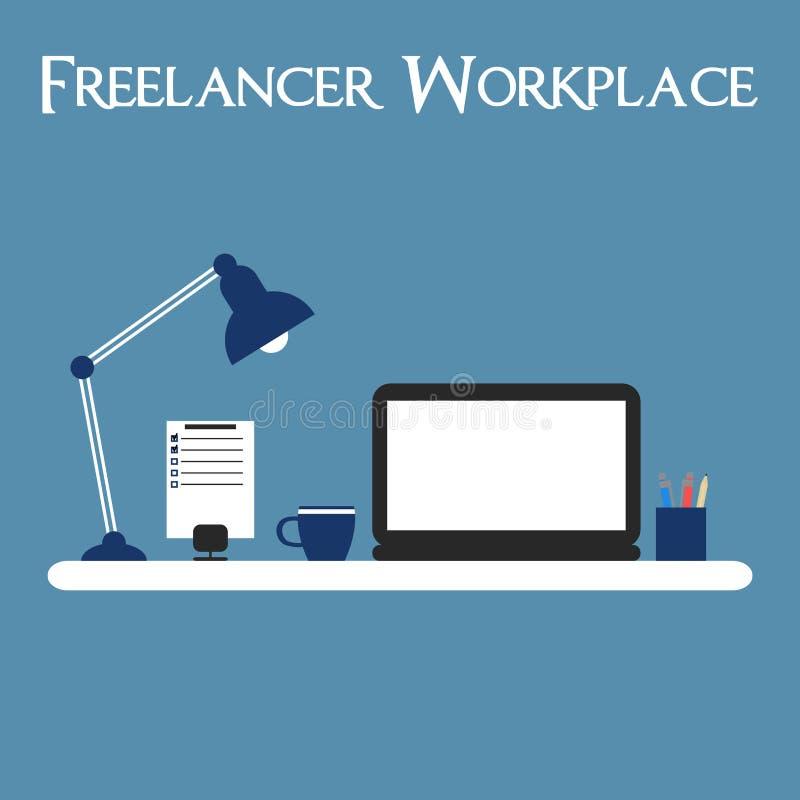 自由职业者工作场所 与膝上型计算机,灯的工作区,做名单 向量例证