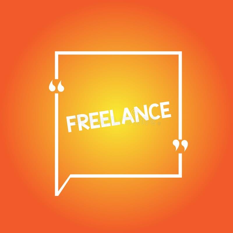 自由职业者手写的文本 概念意思自己经营被聘用工作为在任务的不同的公司删去方形的边界 库存例证