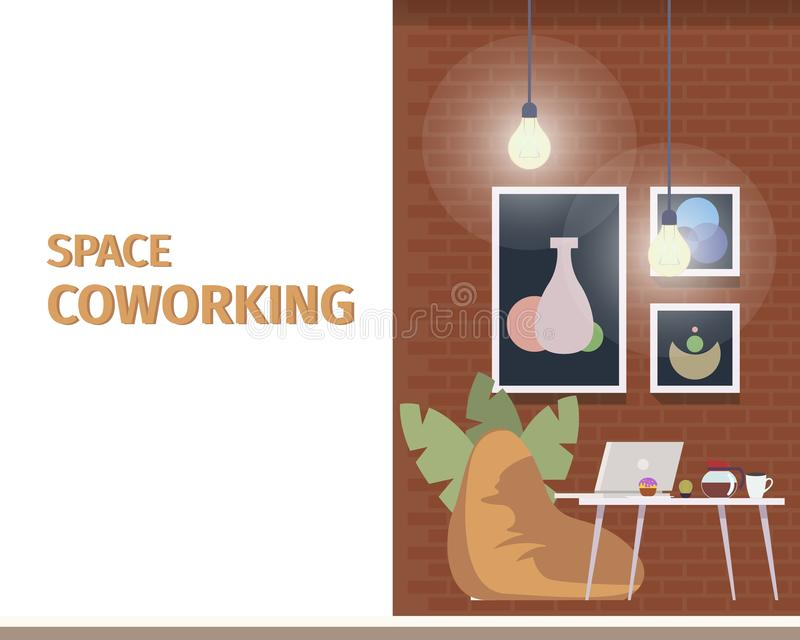 自由职业者的事务的创造性的Coworking空间 皇族释放例证