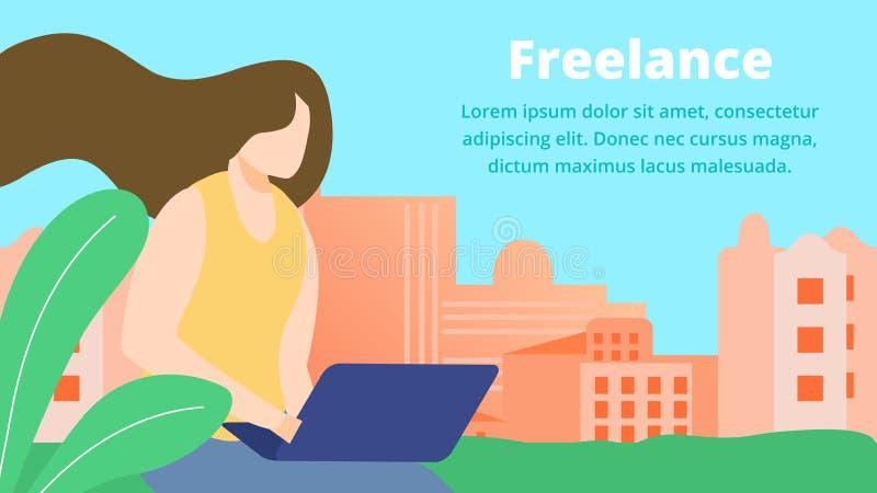 自由职业者的在线作业,女孩艺术家与膝上型计算机一起使用 皇族释放例证