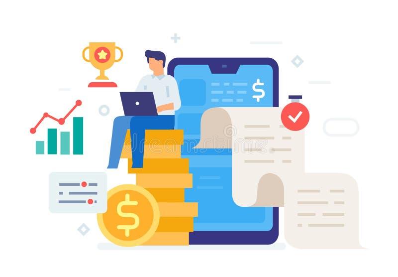 自由职业者的收入资金提取象,例证 用户界面,社会媒介 平的例证象 库存例证