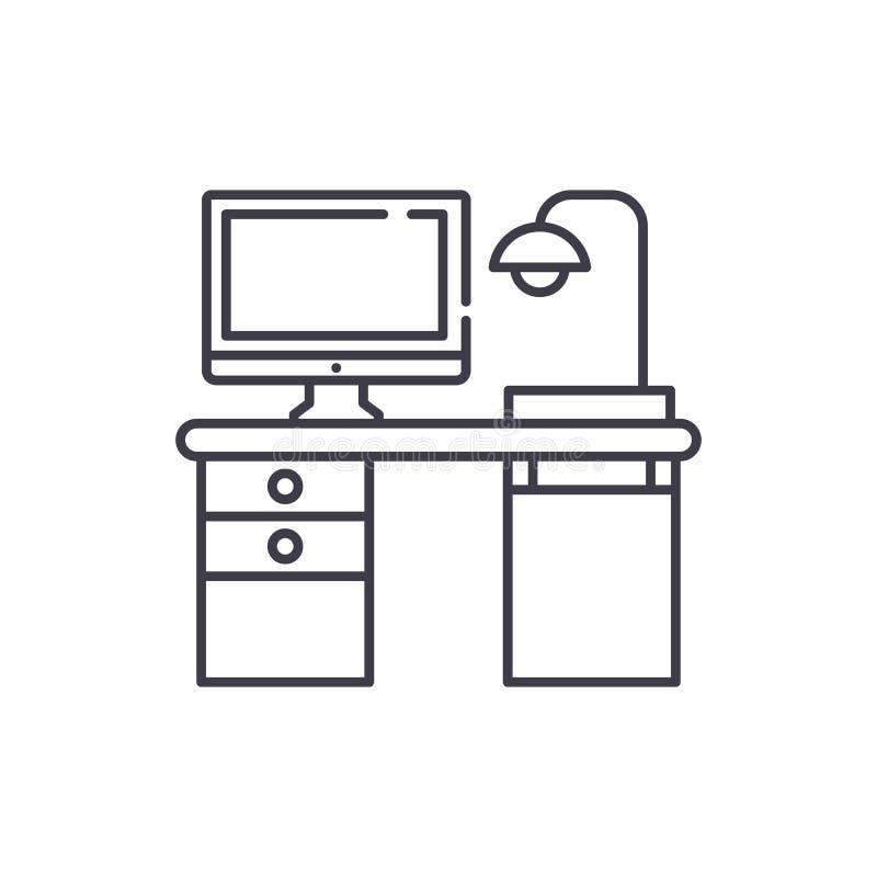 自由职业者计算机书桌线象概念 自由职业者计算机书桌传染媒介线性例证,标志,标志 皇族释放例证