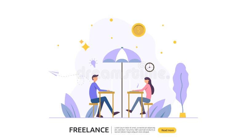 : 自由职业者远程办公或工作在家 人与膝上型计算机的字符工作 网着陆的平的模板 向量例证