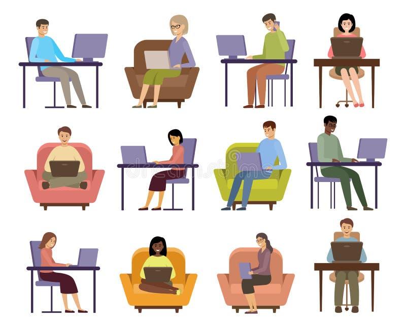 自由职业者 在线业务 距离作业 库存例证