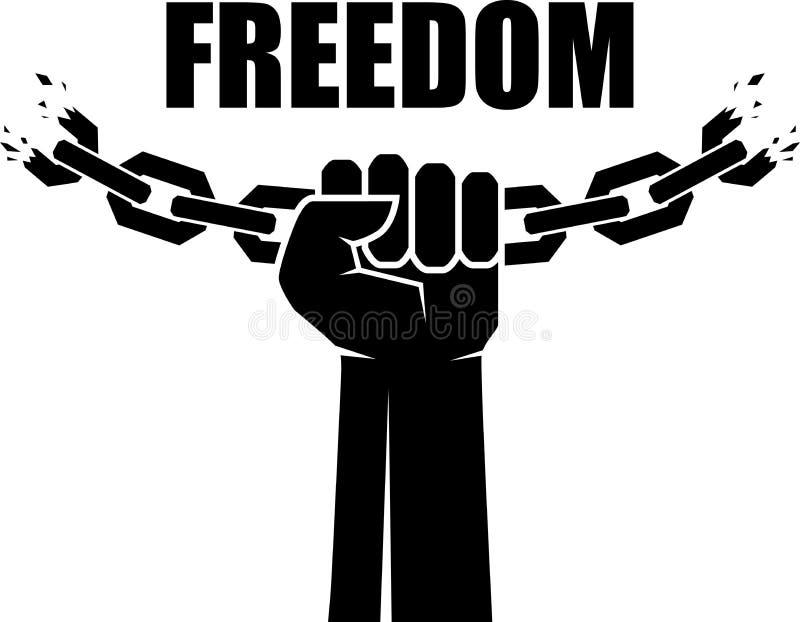 自由象 人的手和残破的链子 查出的黑色概念自由 也corel凹道例证向量 库存例证