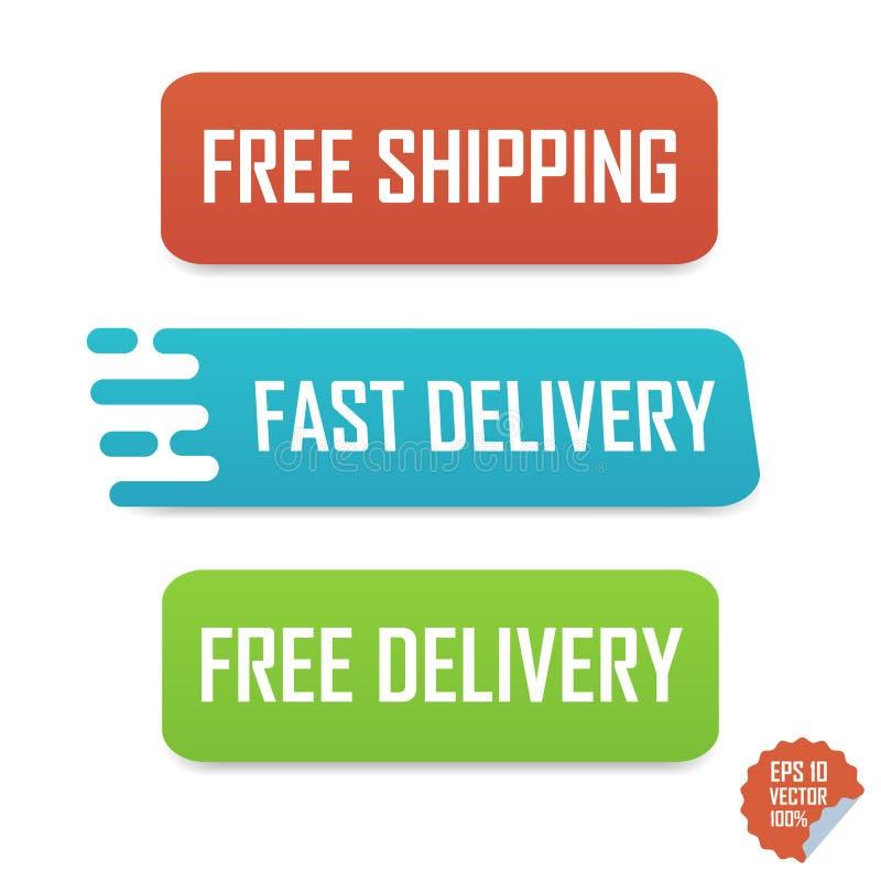 自由运输、快速的交付和自由交付按钮 网站或流动应用的被隔绝的按钮 库存例证