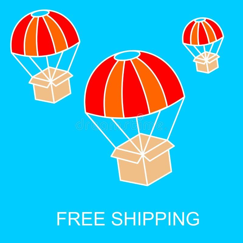 自由运输或电子商务的网横幅 库存例证