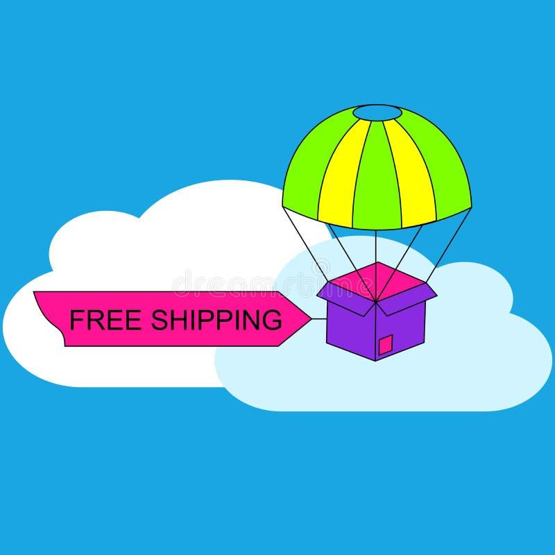 自由运输或电子商务的网横幅 向量例证