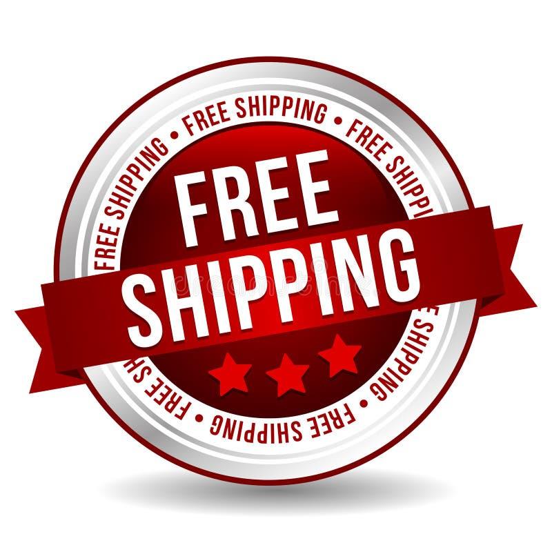 自由运输按钮-与丝带的网上徽章营销横幅 皇族释放例证