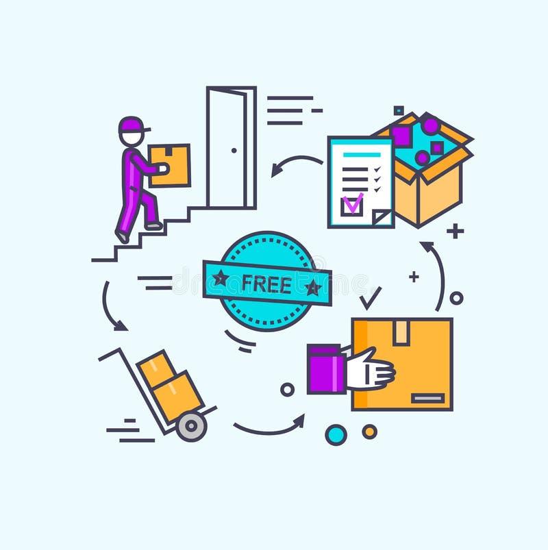 自由运输概念象平的设计 库存例证