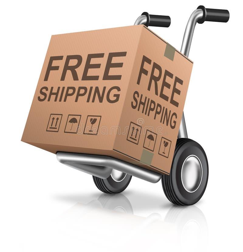 自由运输纸板箱包裹 库存例证