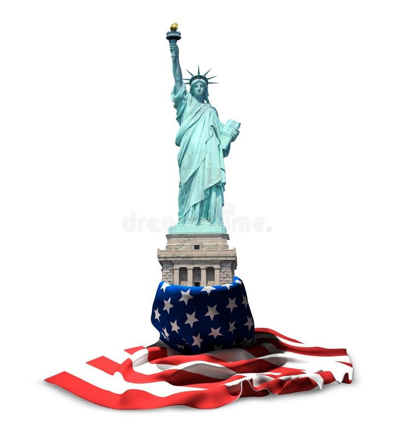 自由雕象美国 美国国旗横幅和美国雕象3d关于 库存例证