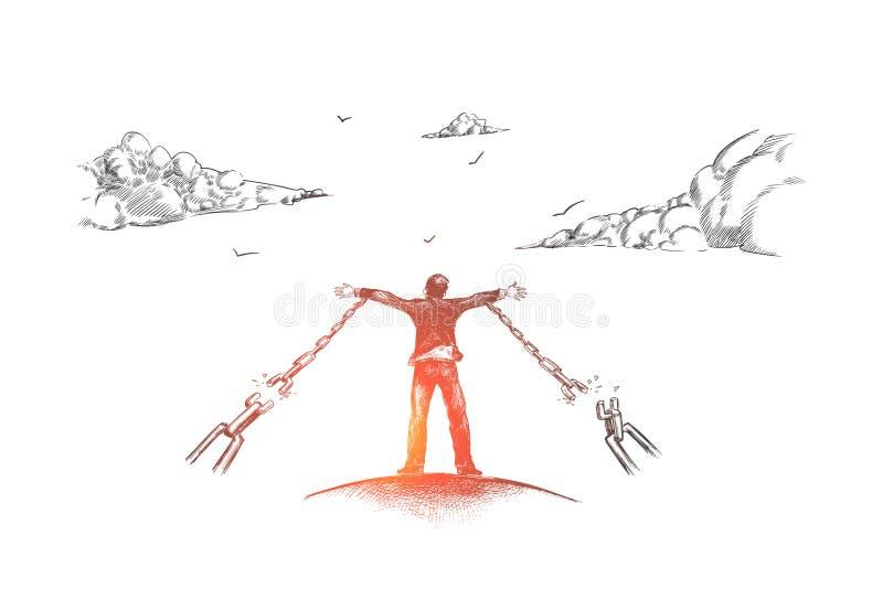 自由,事务,自由职业者,链子,生活方式概念 手拉的被隔绝的传染媒介 库存例证