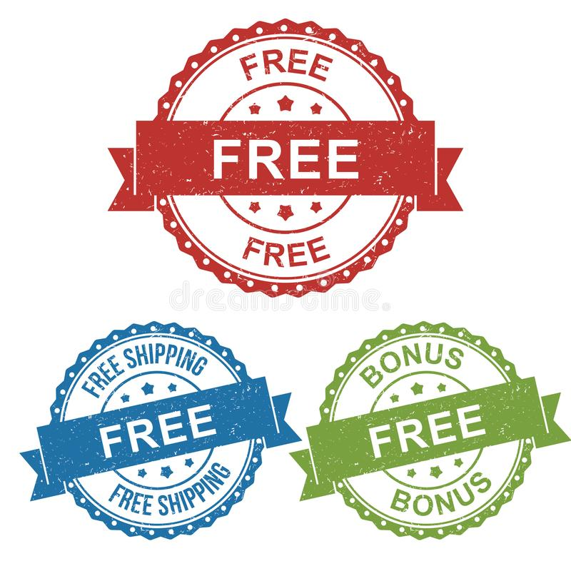 自由,自由运输,奖金,传染媒介徽章标签产品,卖网上商店或网电子商务的营销的邮票标记 库存例证