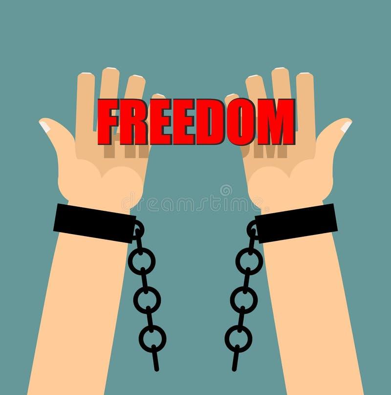 自由 在手铐的手 残破的链子 残破的手铐 棕榈 库存例证