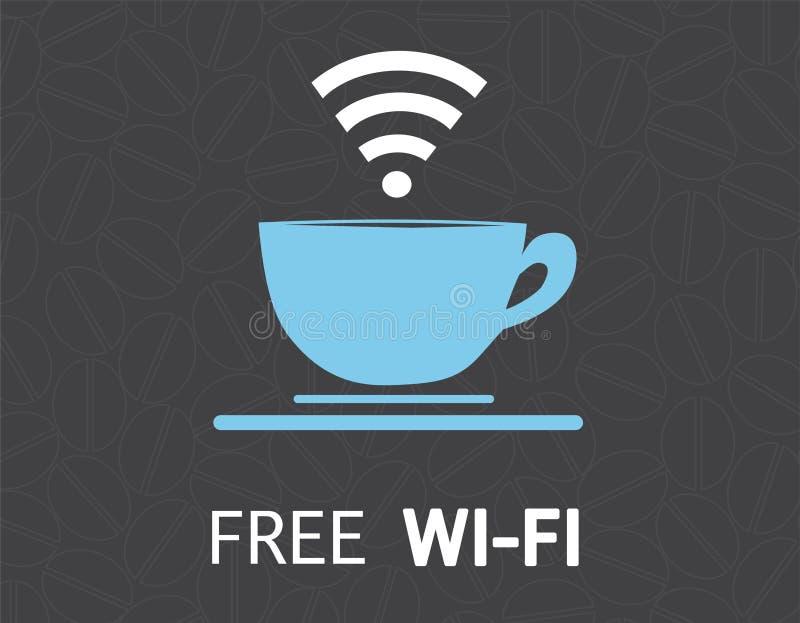 自由wifi咖啡杯概念例证设计 库存例证