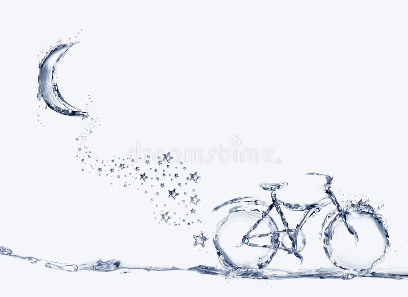 水自行车、伞和星足迹 库存照片