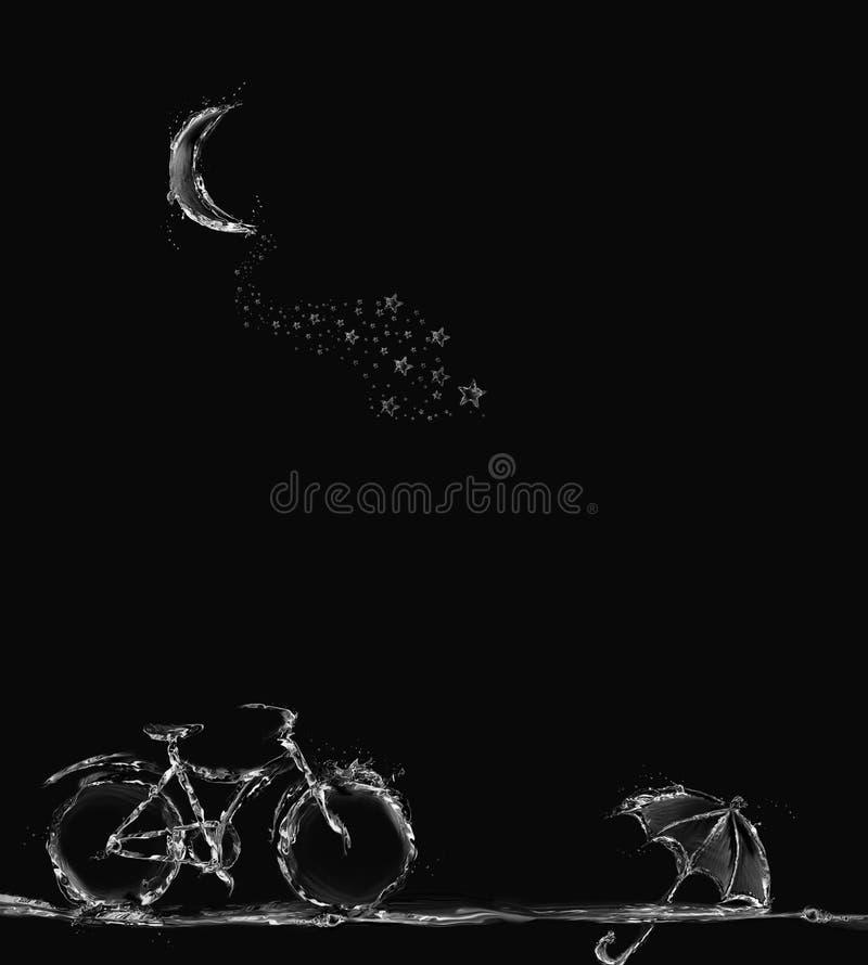 自行车、伞和月牙不可思议的场面  免版税图库摄影