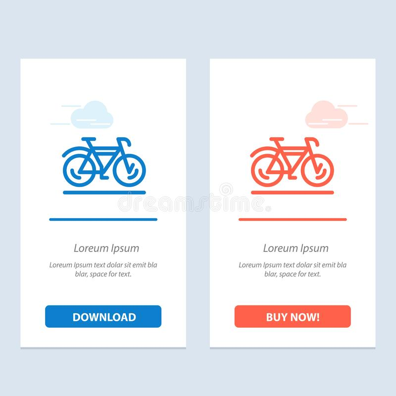 自行车、运动、步行、体育蓝色和红色下载和现在买网装饰物卡片模板 皇族释放例证