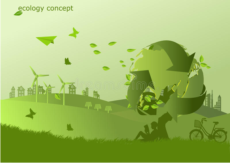 自行车、风车和太阳电池板在草,不伤环境的世界 生态的传染媒介例证 皇族释放例证