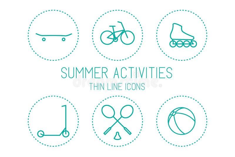 自行车、滑板、溜冰鞋、滑行车、羽毛球、球-体育和休闲,在白色背景的剪影 向量例证