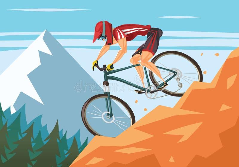 自行车下坡山 库存例证