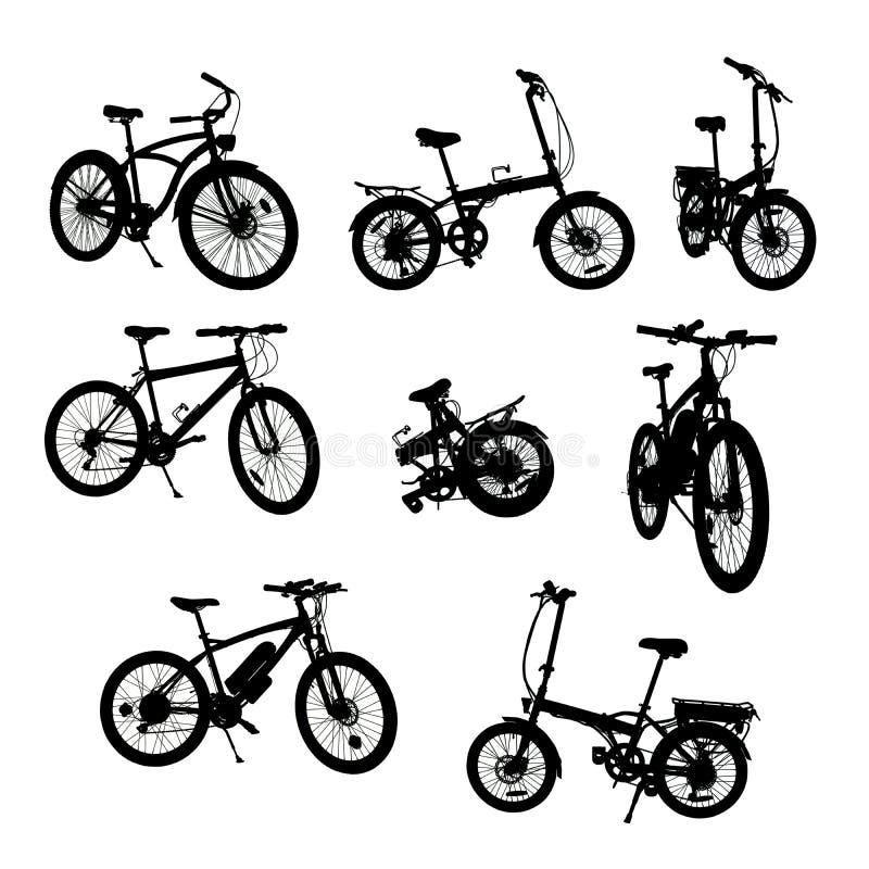 自行车与裁减路线的剪影汇集 皇族释放例证