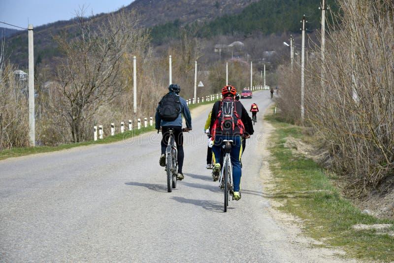 自行车乘驾在早期的春天 库存照片