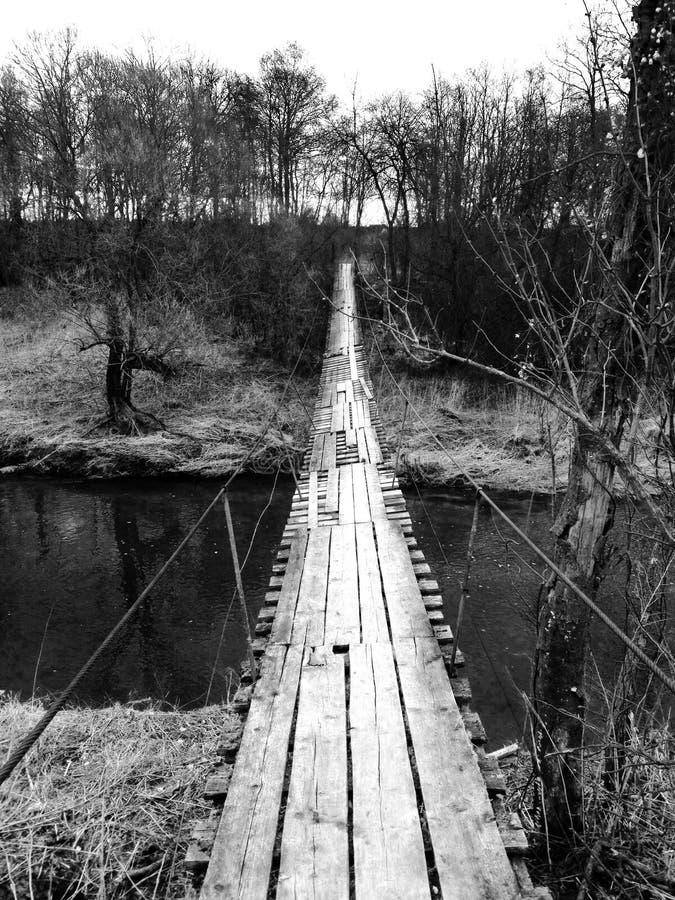 自行车乘驾 老桥梁 免版税图库摄影