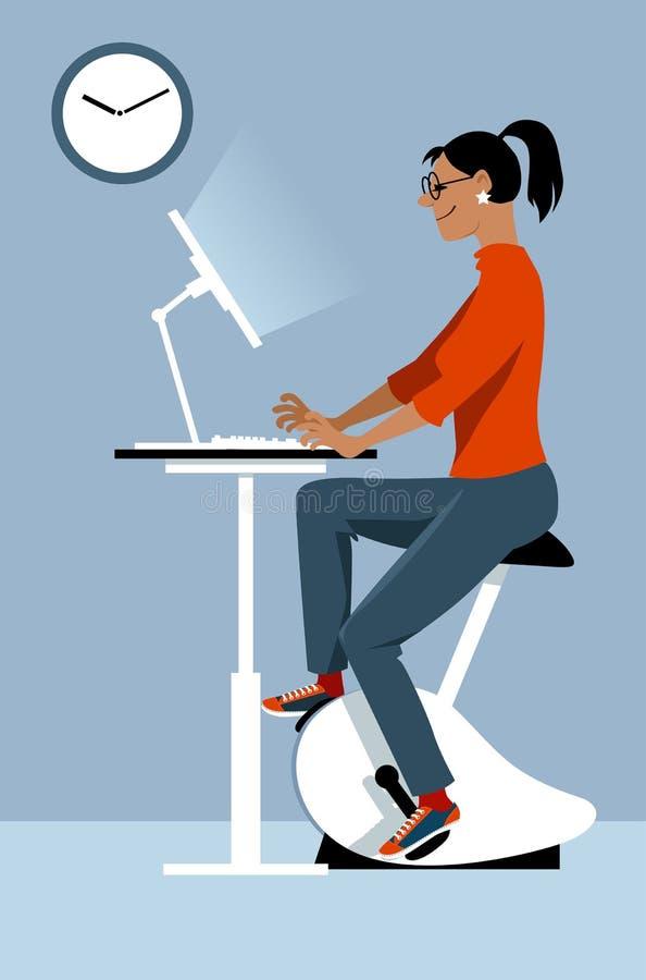 自行车书桌在办公室 向量例证