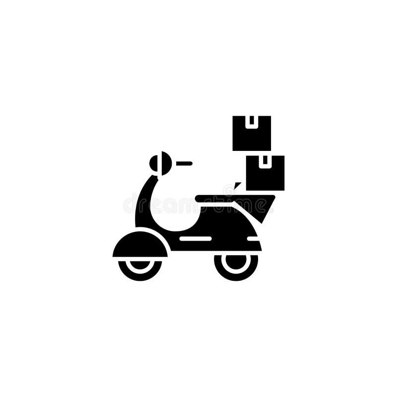自行车交付黑色象概念 骑自行车交付平的传染媒介标志,标志,例证 向量例证