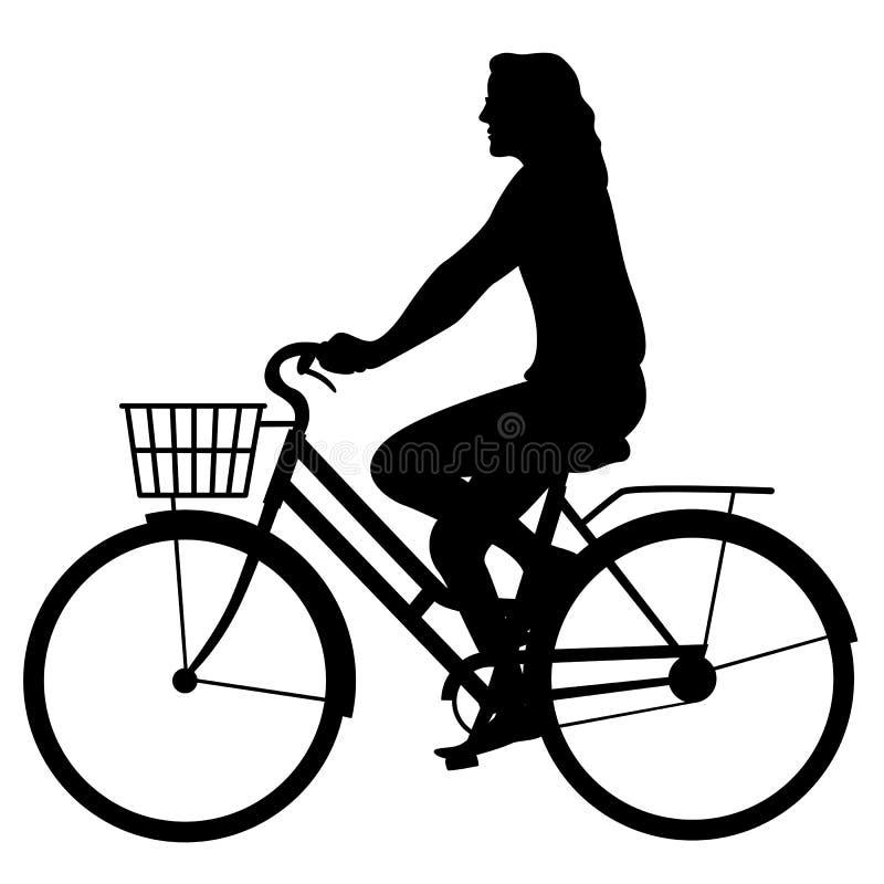 自行车传染媒介例证黑色剪影外形的女孩 向量例证