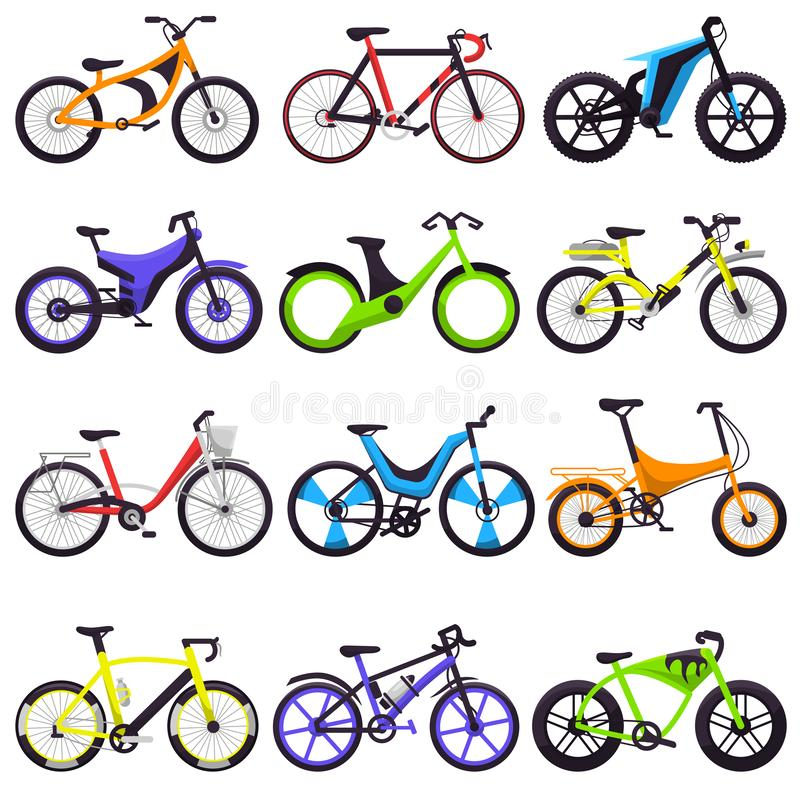 自行车传染媒介骑自行车的人循环与轮子和脚蹬例证骑自行车的套的骑自行车的运输自行车骑士循环 皇族释放例证