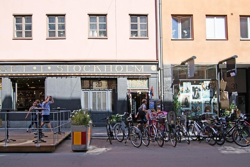 自行车停车处在Gotgatsbacken 库存图片