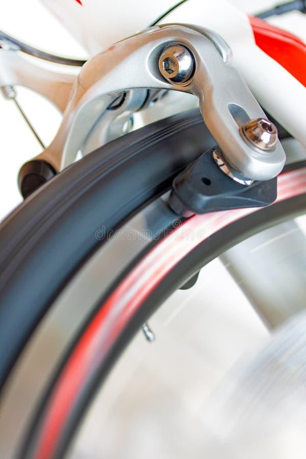 自行车刹车的机制,特写镜头视图 库存图片