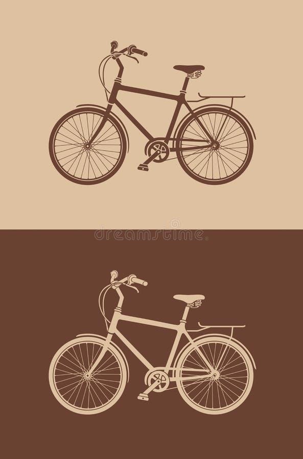 自行车剪影 库存例证