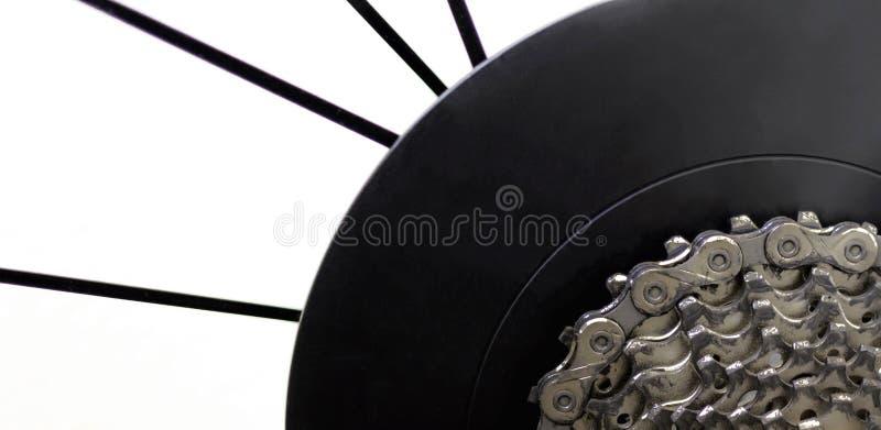 自行车后轮和齿轮 免版税库存照片