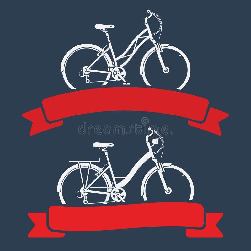 自行车和丝带 库存例证