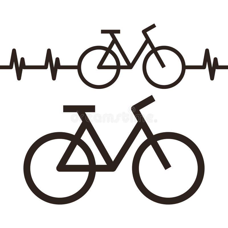 自行车和心跳标志 皇族释放例证
