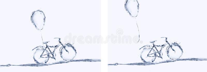 水自行车和气球拼贴画 免版税库存图片