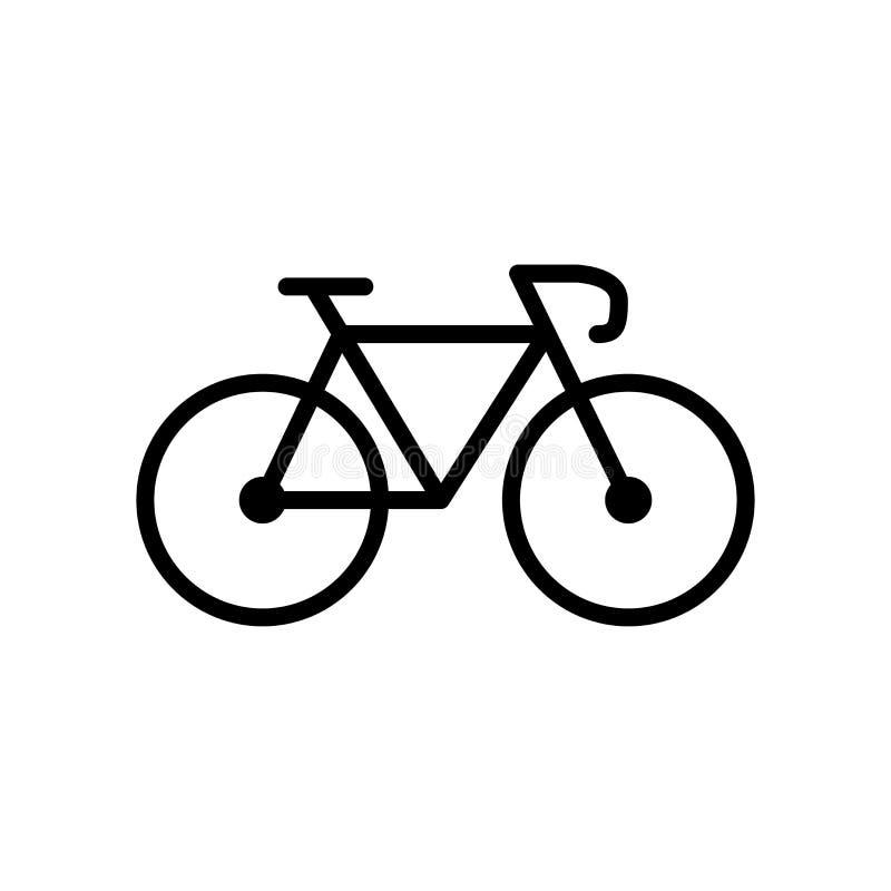 自行车在白色背景隔绝的象传染媒介,骑自行车在线性样式的标志、线和概述元素 皇族释放例证