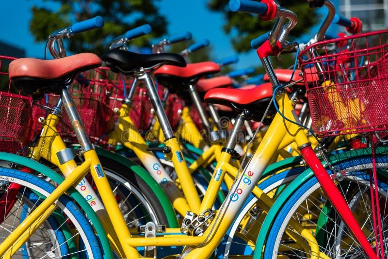 自行车在Googleplex -谷歌总部 免版税库存照片