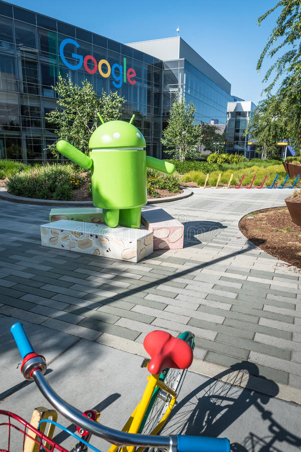 自行车在Googleplex -谷歌总部 库存图片