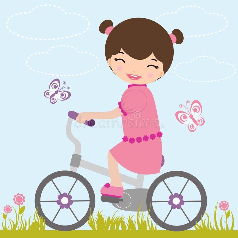 自行车女孩一点 库存例证